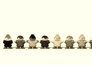 multiracial children in line