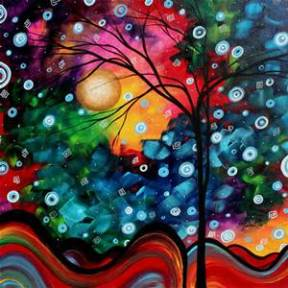 Abstract Art Landscape Tree Painting