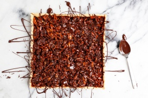 Caramel Nut Tart with Chocolate an homage to Jackson Pollock