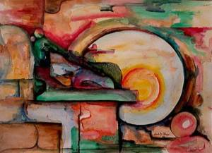 New Day - an original watercolor painting by Chidi Courtesy of modernartimages_dot_com