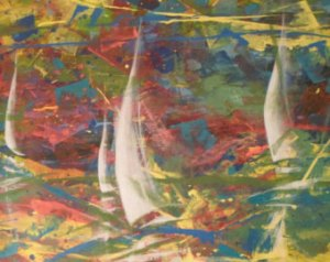 Sailing boats,Large original painting,Large abstract art,Large abstract canvas - Courtesy of etsy_dot_com