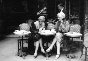 Moïse Kisling, Pâquerette, Picasso and behind them Marie Vassilieff at the café La Rotonde, August 1916